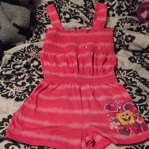Other - Girls size 6 jumpsuit shorts. Pink with spongebob